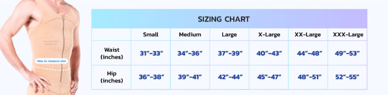 sizing chart I-Cheer Zippered Abdominal Chest Garment for MEN