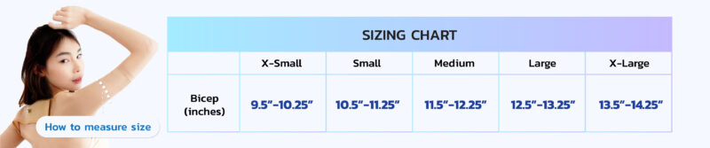 Sizing chart I-CHEER ARM SURGERY COMPRESSION SLEEVES